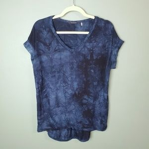 Tahari V-neck Tie Dye Short Sleeve High Low Top